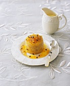 Baked ginger dessert with passionfruit sauce