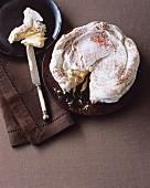 Layered meringue cake with coffee cream