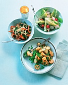 Fried potatoes with peas, fried kale & lettuce hearts with radishes