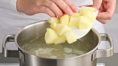 Placing chopped potato into boiling water