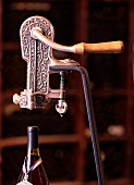 Corkscrew in museum wine cellar (Williamsburg Winery, Williamsburg, Virginia, USA)