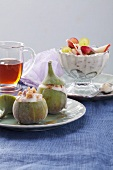 Figs with quark-walnut filling and coconut quark with fruit