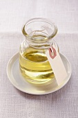 Sesame oil in a glass container