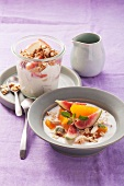 Yogurt mueslie with fruit and muesli with quark and pears