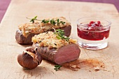 Saddle of venison with a nut crust