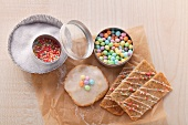 Cookies with icing and sprinkles decorations