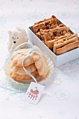 White chocolate madeleines and almond biscuits