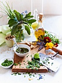 Fresh herbs, herb flowers and chopped herbs