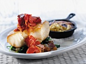 Grouper with Tomato Relish and Steamed Greens, Onions and Ham; Squash Casserole