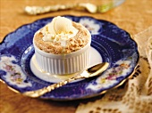 Bananas Foster Souffle with Vanilla Ice Cream