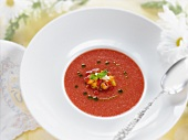 Bowl of Gazpacho Soup with Corn Pepper Relish