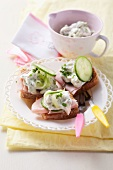 Wholemeal toast with ham and cucumber quark