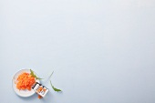Grated carrot on a plate