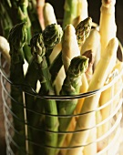 Asparagus in a metal basket