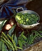Artichokes, peas and bean pods