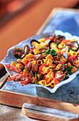 Tubetti ai frutti di mare (pasta with seafood)