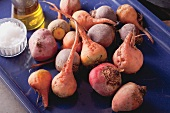 Beetroot and golden beetroot on baking tray