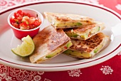 Quesadillas with avocado and tomato salsa