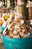 Dried seafood products in a market in Thailand