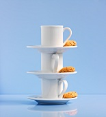 Stacked espresso cups with Amaretti