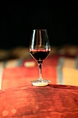 A glass of red word on barrels (Boxwood Winery, Middleburg, Virginia, USA)