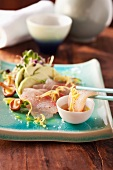 Sashimi made with hamachi and avocado