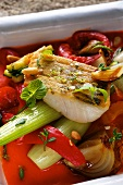 Zander with tomatoes and Mediterranean vegetables