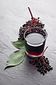 A glass of elderberry juice