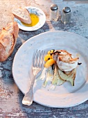 Monkfish with fennel and oranges, baguette