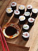 Maki sushi with soy sauce (Japan)
