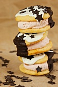 Stacked whoopie pies with chocolate stars