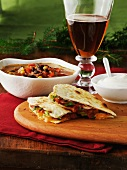 Black bean soup with corn, tortillas