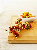 Chicken-vegetable kebabs with chimichurri