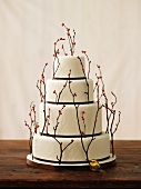 Wedding cake with twigs