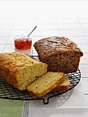 Zucchini bread on a wire kitchen rack