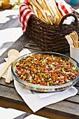 Borlotti bean salad and grissini