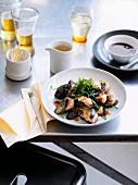 Hakka-style eggplant stuffed with shrimp (China)