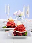 Iced strawberry compote with roast strawberries and coconut cookies