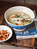 Potato soup with croutons and chives (France)
