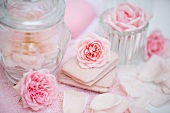 Rose soaps and pink roses