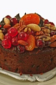 Fruit cake with nuts and almonds