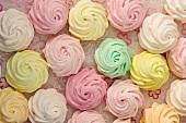 Pastel-colored meringue cookies
