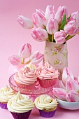 Butter cream cupcakes and tulips