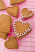 Heart-shaped cookies on a kitchen rack for Valentine's Day
