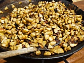 A large pan of fried potatoes (Pennsylvania Smallholders Festival, Bucks County, PA)