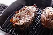 Steaks Cooking in a Grill Pan