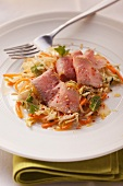 Saddle of veal with sweetheart cabbage and carrot salad
