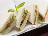 Tramezzini with ham and vegetables