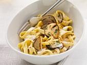 Tagliatelle ai porcini (tagliatelle with porcini mushrooms, Italy)