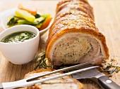 Porchetta e salsetta verde (cochon de lait roulade)